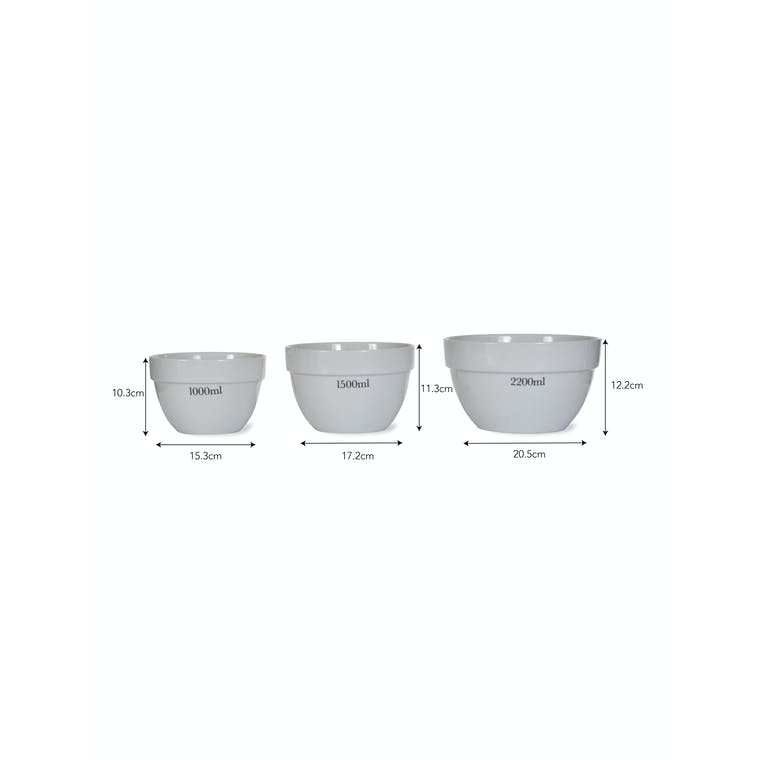 Porcelain Set of 3 Rialto Mixing Bowls in 1000ml, 1500ml and 2200ml | Garden Trading