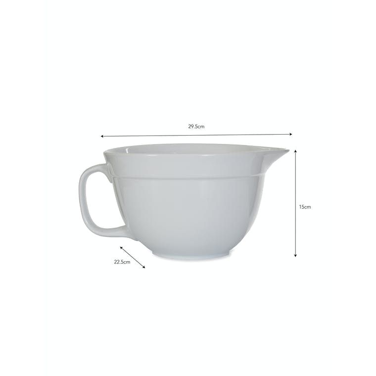 Porcelain Rialto Mixing Bowl with Handle in White | Garden Trading