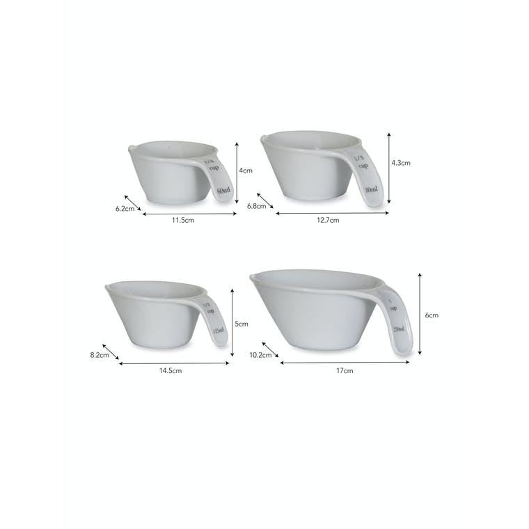 Porcelain Rialto Measuring Cup Set in 60ml, 80ml, 125ml and 250ml | Garden Trading