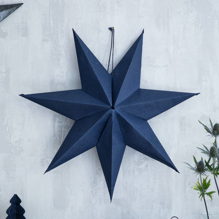 Paper Star Decoration 60cm in White, Red, Ink or Black - Maddox   Garden Trading