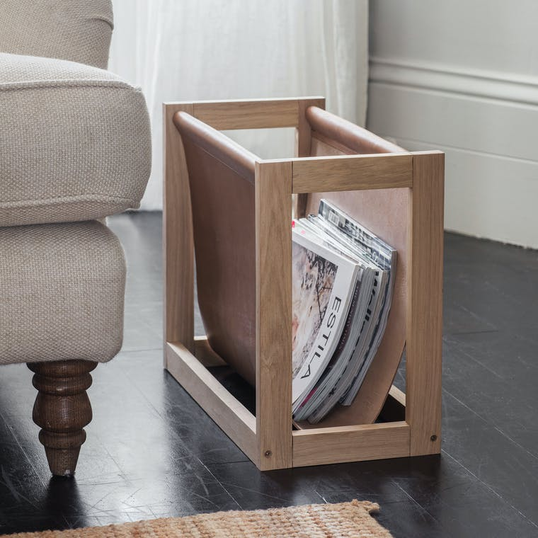 Oak and Leather Kelston Magazine Holder | Garden Trading