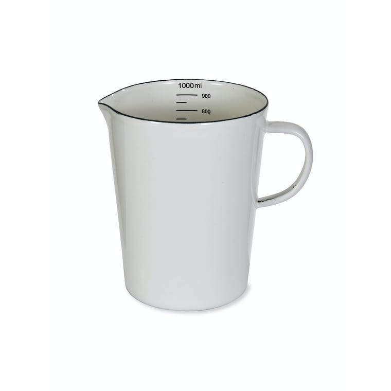 Enamel Measuring Jug in White | Garden Trading