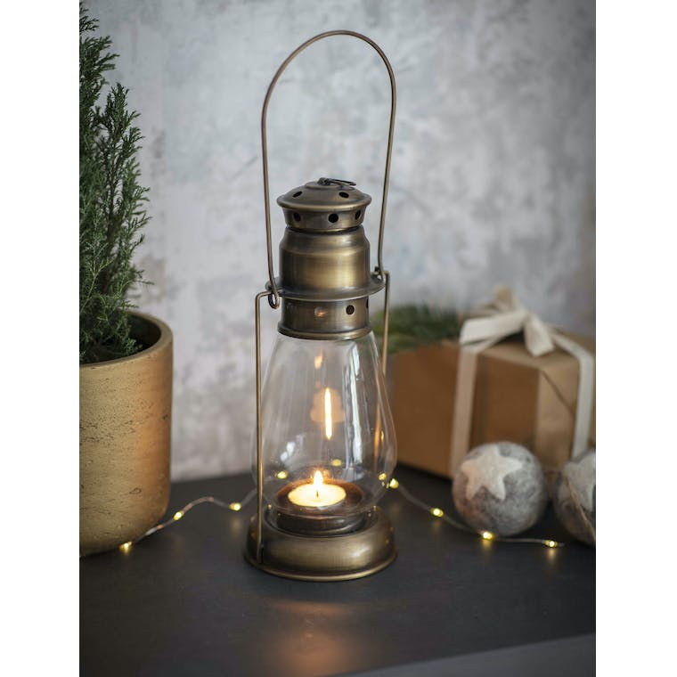 Antique Brass Miners Lantern in Small or Large | Garden Trading
