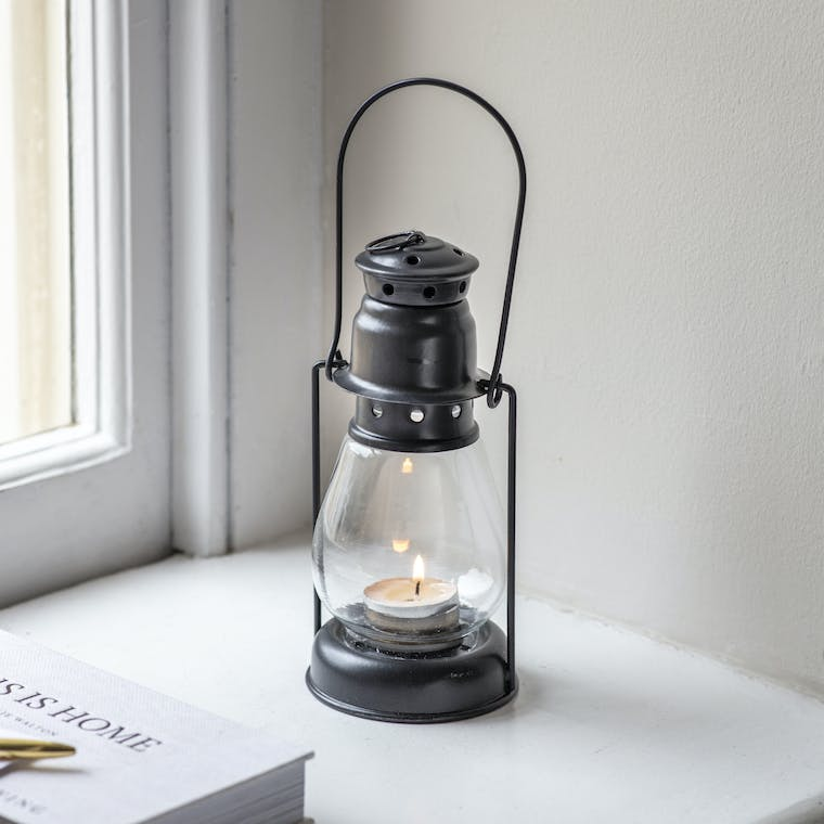 Steel Black Miners Lantern in Small or Large | Garden Trading