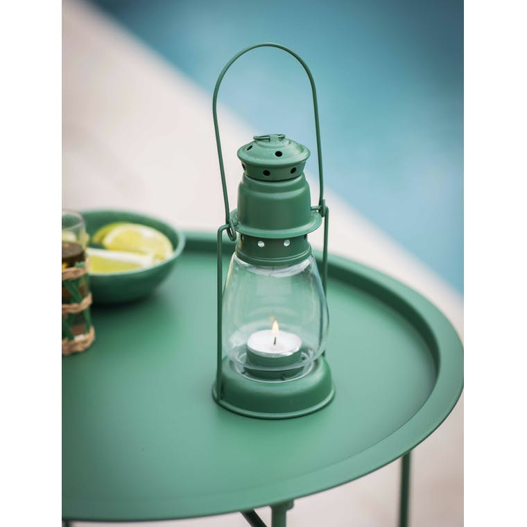 Garden Trading Miners Lantern, Small in Foliage Green