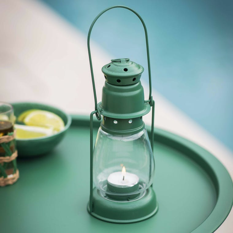 Steel Miners Lanterns Small in Green   Garden Trading