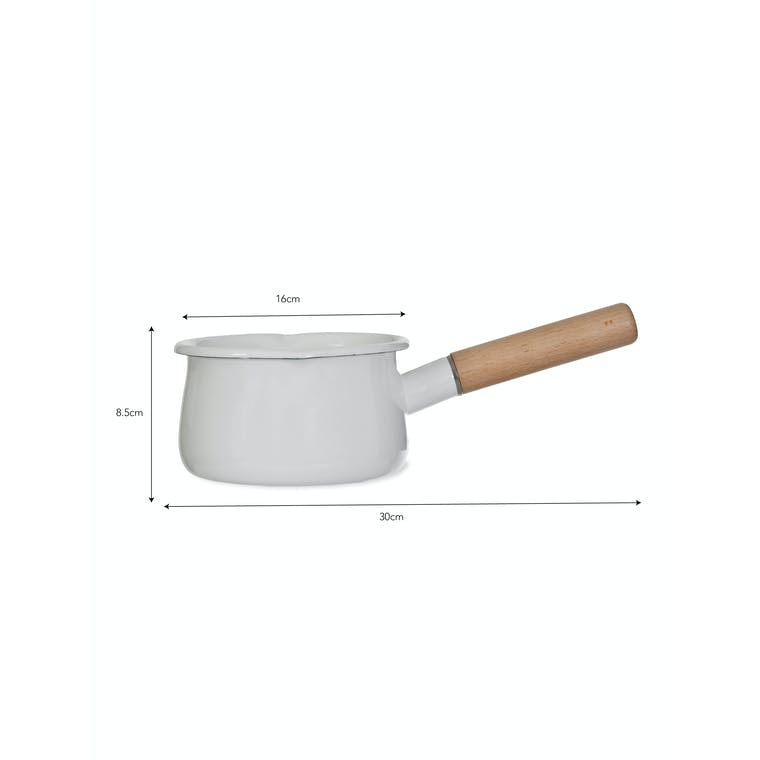 Enamel Milk Pan in White with Wooden Handle | Garden Trading