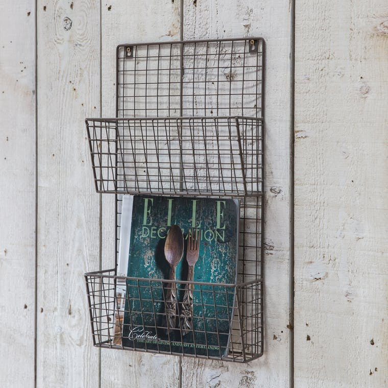 Wirework Farringdon Magazine Rack in Grey | Garden Trading