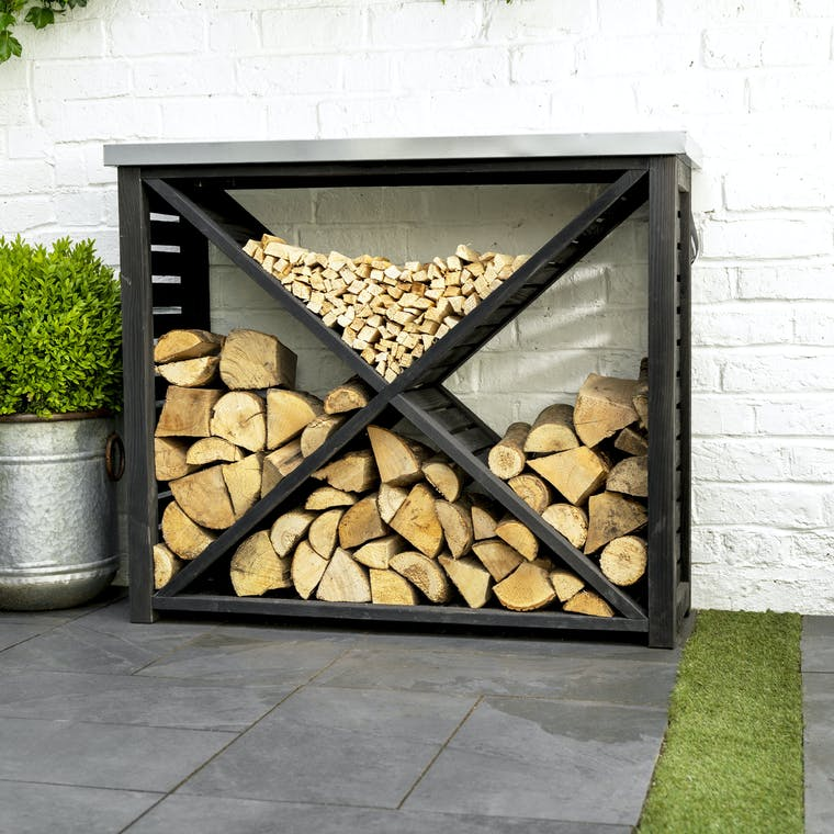 Wooden Moreton Cross Log Store | Garden Trading