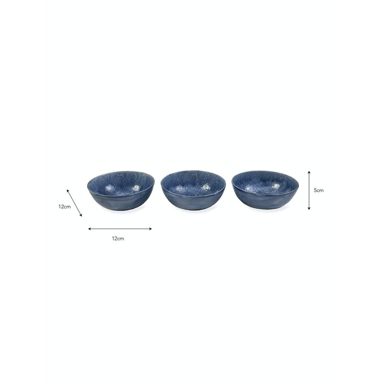Steel Set of 3 Fiskardo Nibble Bowls in Blue | Garden Trading
