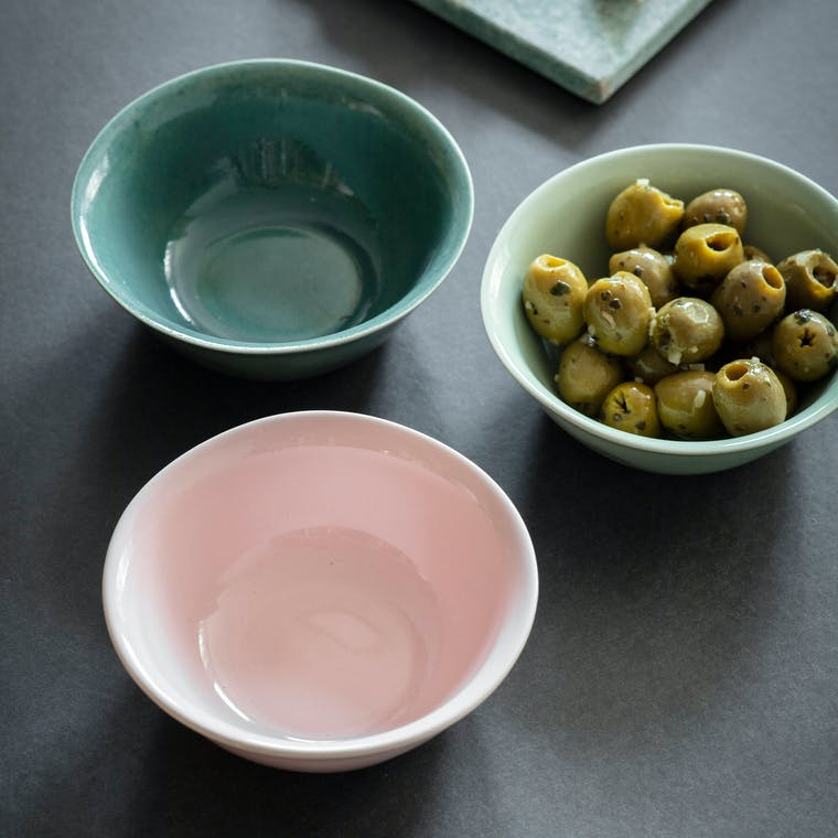 Ceramic Set of 3 Nibble Bowls in Green or Ink | Garden Trading