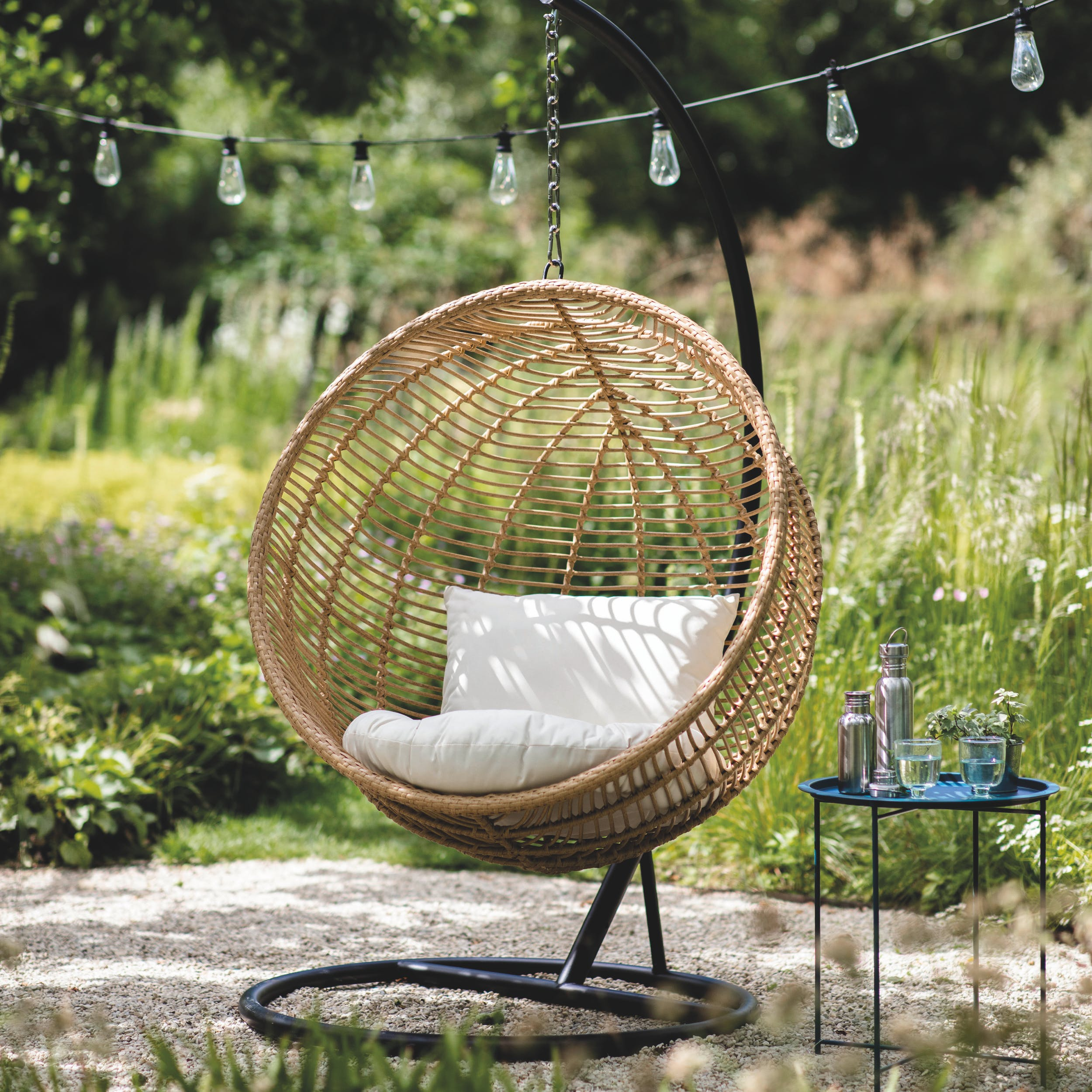 Pe Bamboo Hampstead Outdoor Hanging Nest Chair Garden Trading