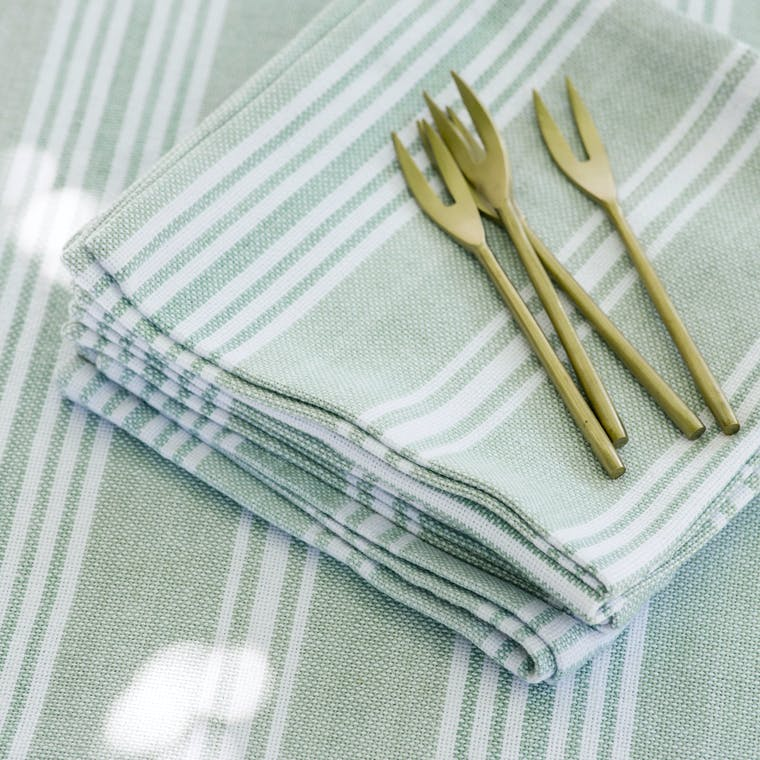 Cotton Green and White Stripe Set of 4 Napkins | Garden Trading