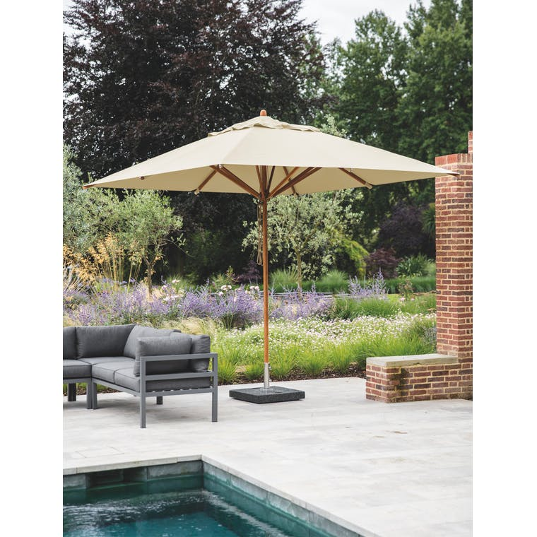 Parasol in Khaki or Natural with Granite Base | Garden Trading