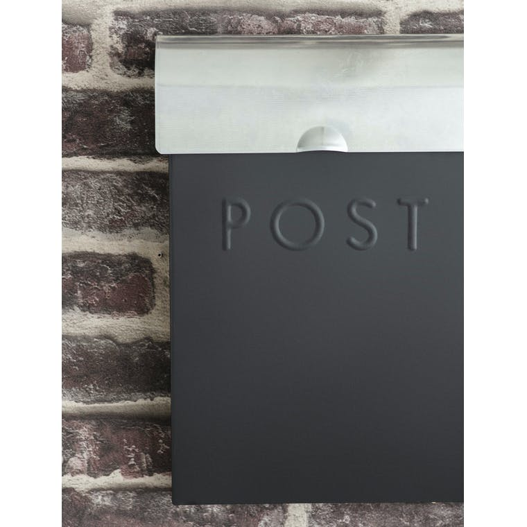 Steel Post Box with Lock in Silver, Grey or Cream | Garden Trading
