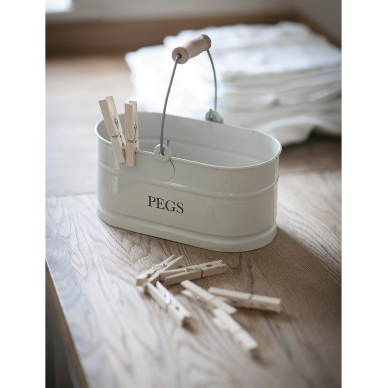 Steel Peg Bucket in White  | Garden Trading