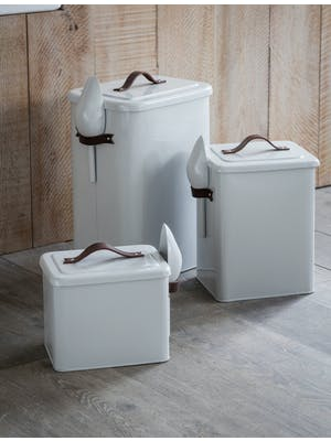 Pet Bin with Leather Handle