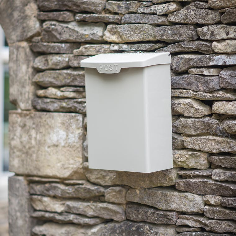 Steel Shipton Post Box in Cream or Grey | Garden Trading