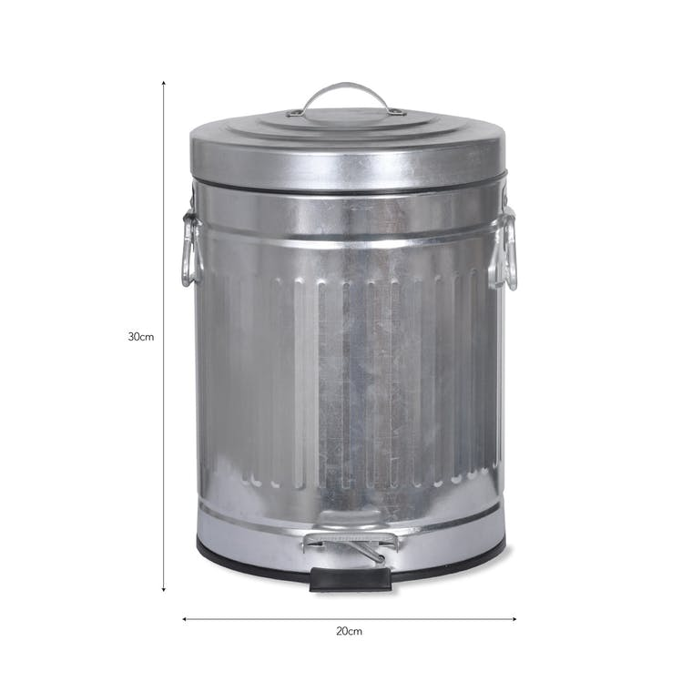 Galvanised Steel Pedal Bin in Small or Large | Garden Trading