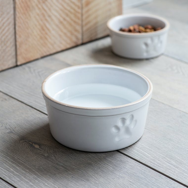 Stoneware Pet Bowl with Paw Print in Small or Large | Garden Trading
