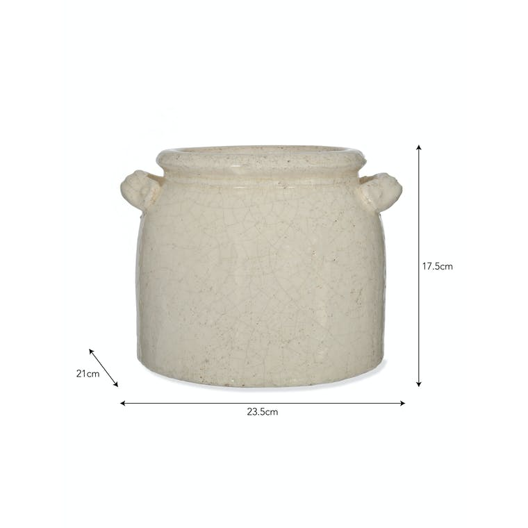Ceramic Ravello Pot with Handles in White | Garden Trading