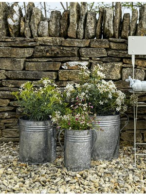 Set of 3 Galvanised Steel Planters
