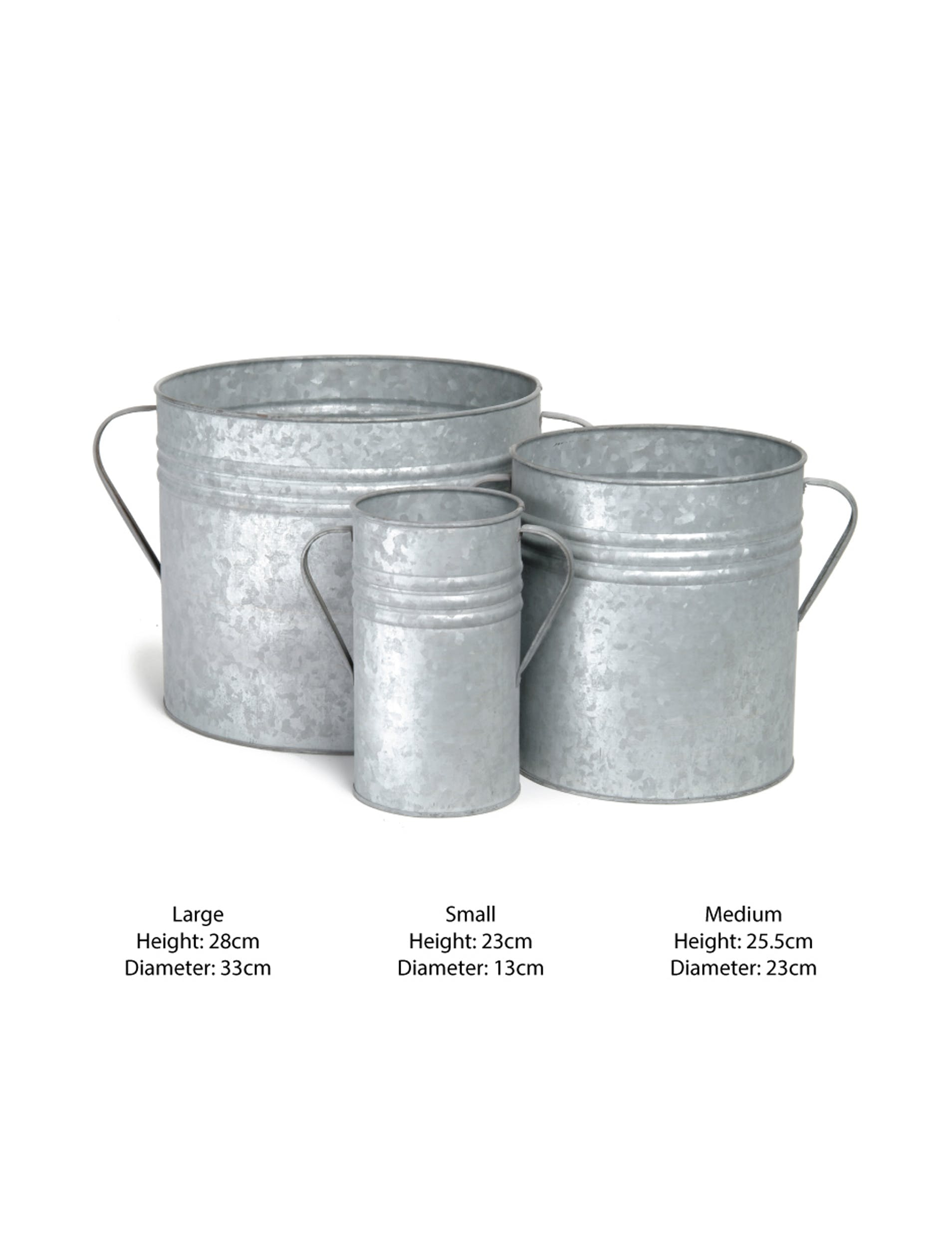 Galvanised Set of 3 Planters  | Garden Trading