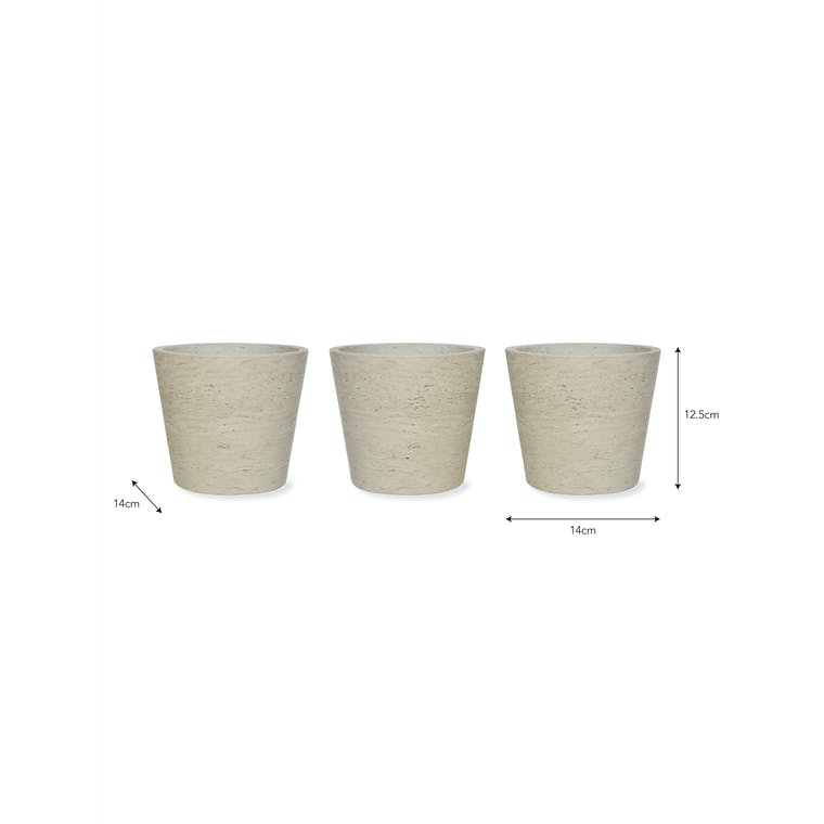 Cement Set of 3 Pots in Neutral or Black | Garden Trading