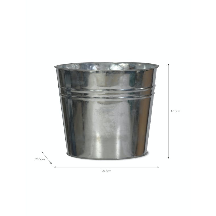 Galvanised Large Winson Plant Pot in Black or Silver   Garden Trading