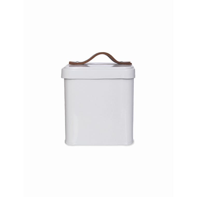 White Pet Treat Tin with Leather Handle | Garden Trading
