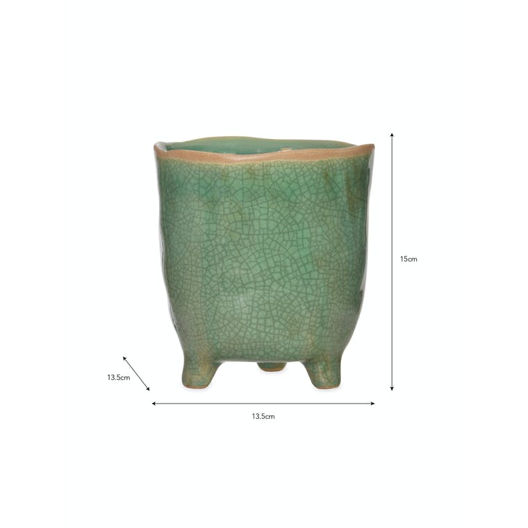 Ceramic Positano Pot Green in Small or Large | Garden Trading
