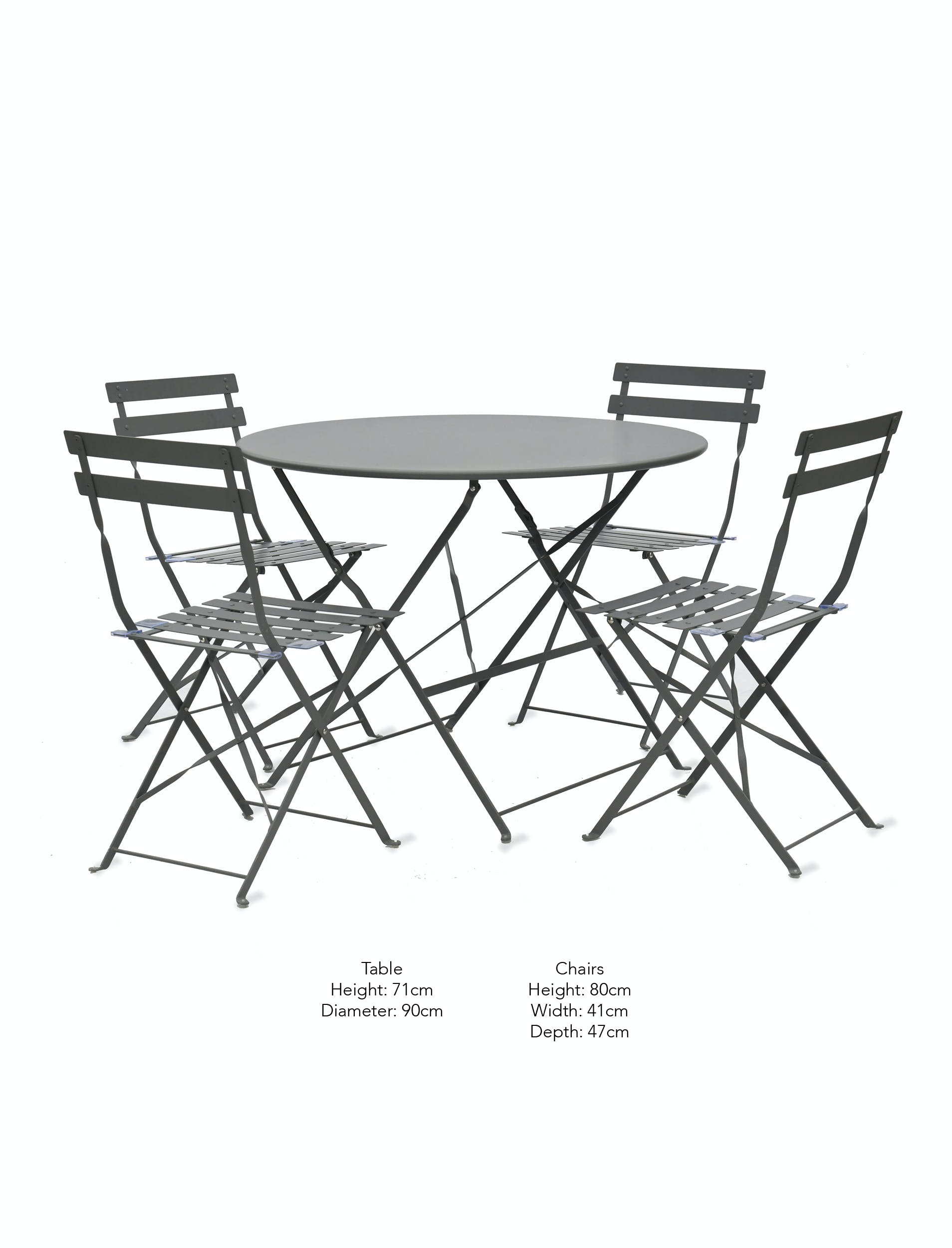 Large Folding Rive Droite Bistro Set in Cream or Black | Garden Trading