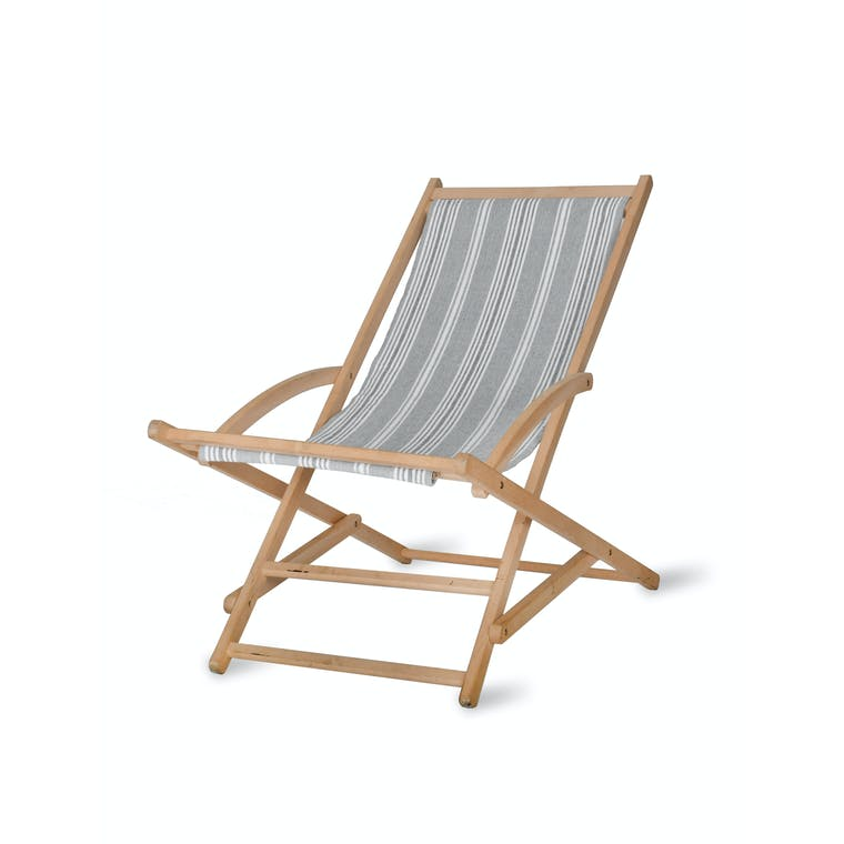 Cotton and Wood Rocking Deck Chair in Green or Grey Stripe | Garden Trading