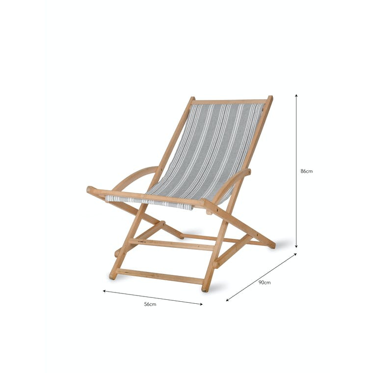 Cotton and Wood Rocking Deck Chair in Green, Grey or Red Stripe | Garden Trading