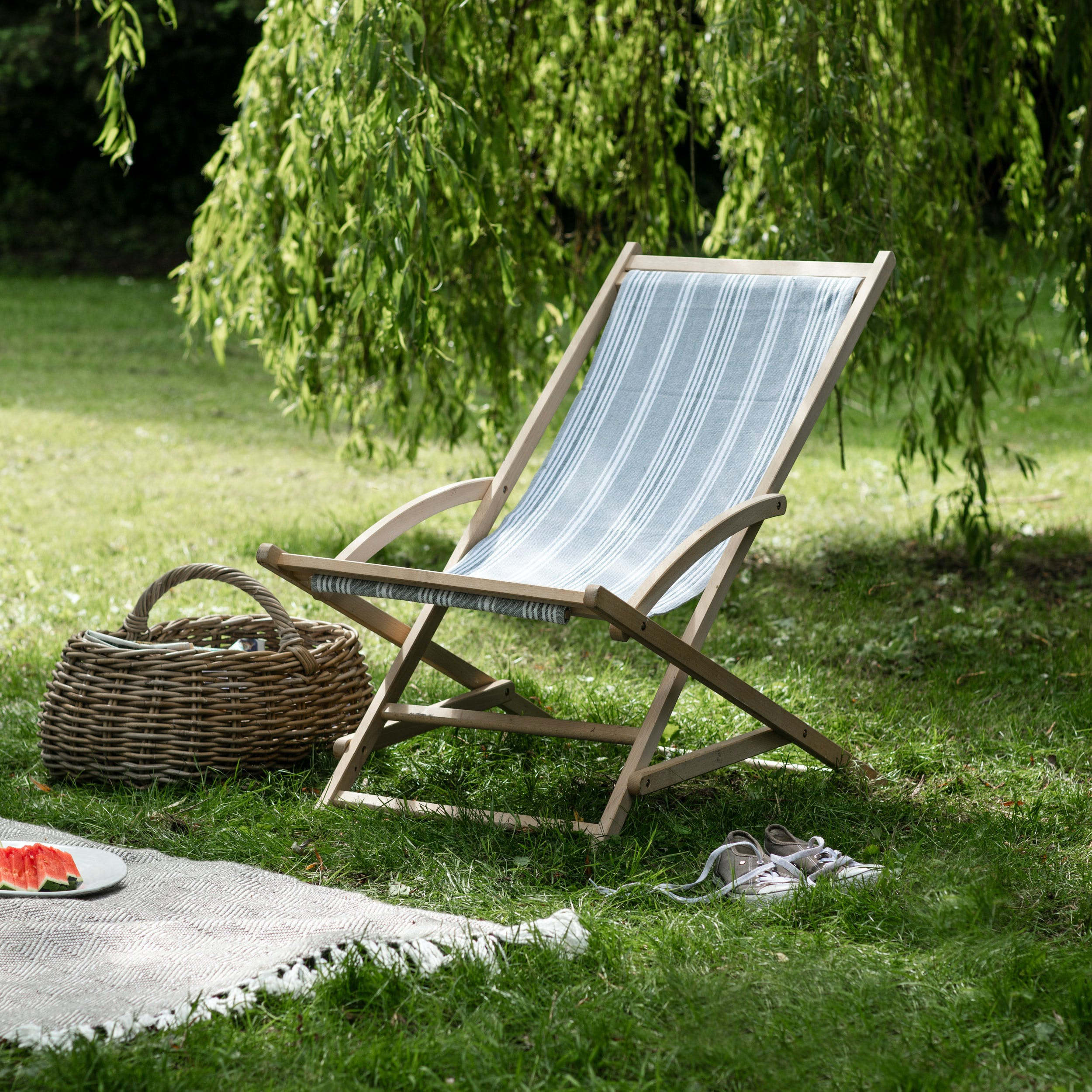 Rocking Deck Chair In Grey Or Blue, Rocking Deck Chair Uk