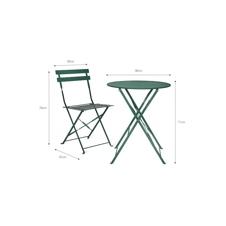 Outdoor Bistro Set Small in Green, Yellow or Red | Garden Trading