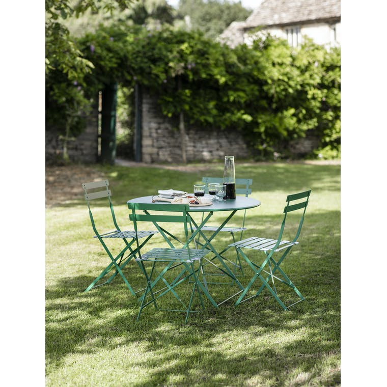 Garden Trading Rive Droite Bistro Set, Large in Foliage Green - Steel