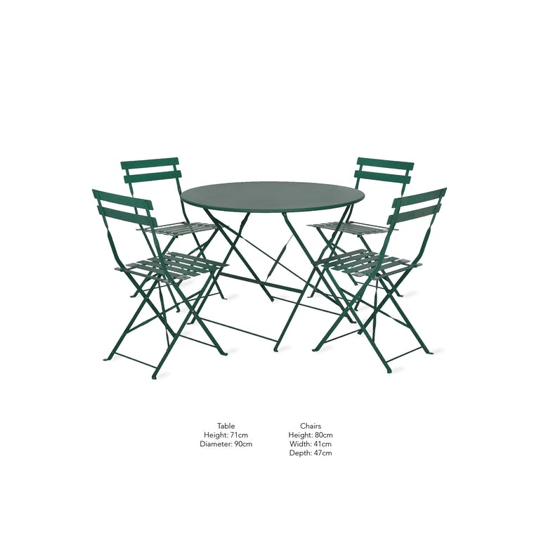 Outdoor Bistro Set Large in Green | Garden Trading