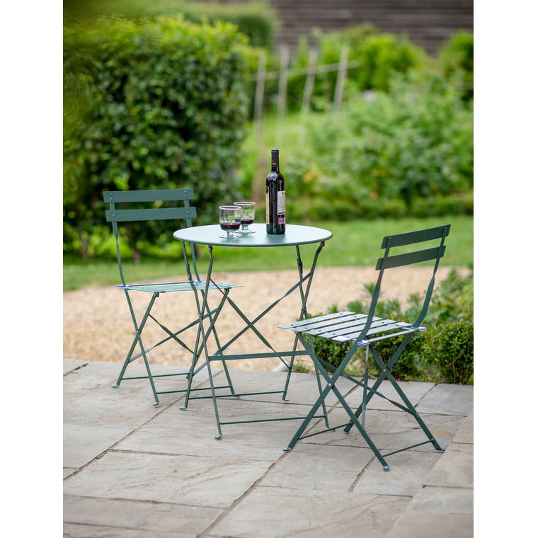Rive Droite Bistro Set, Small in Forest Green by Garden Trading