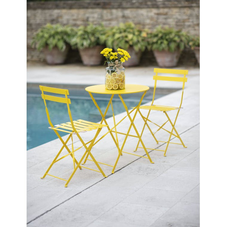 Garden Trading Rive Droite Bistro Set, Small in Lemon - Steel