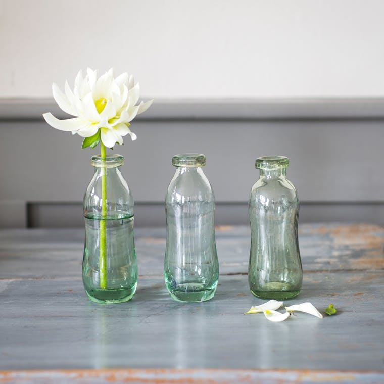 Recycled Glass Set of 3 Bottles | Garden Trading