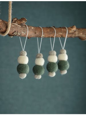 Set of 4 Southwold Pom Pom Baubles
