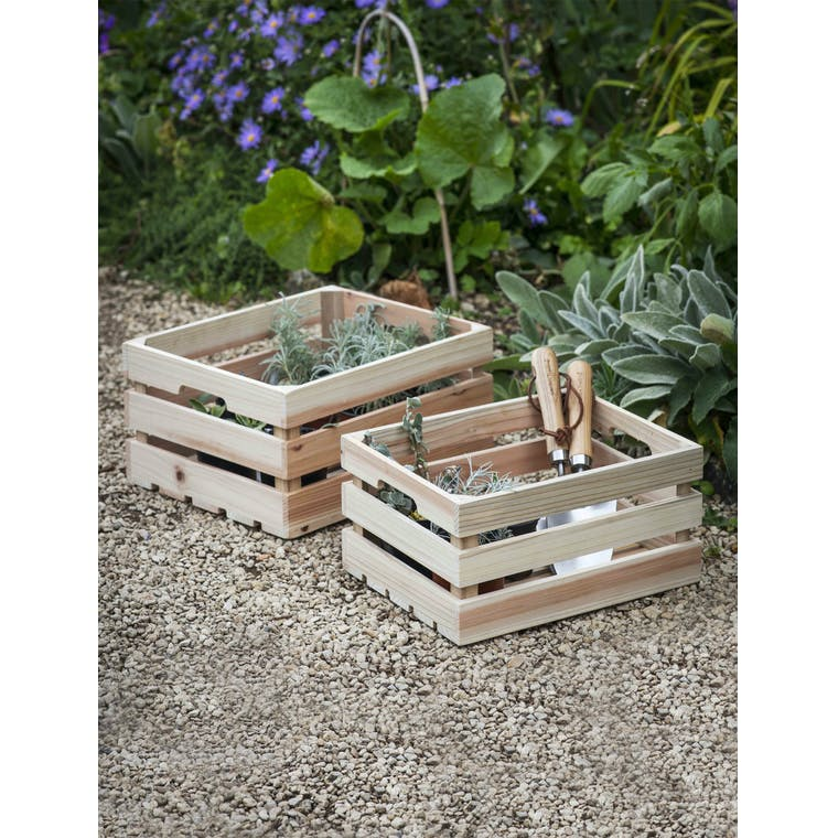 Garden Trading Set of 2 Wooden Storage Boxes