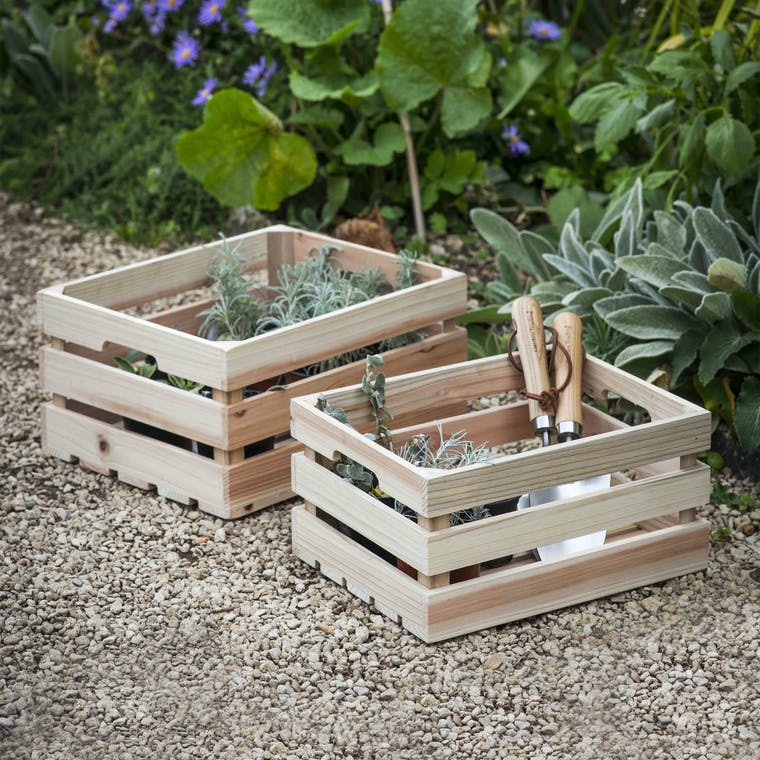 Wooden Set of 2 Storage Boxes | Garden Trading