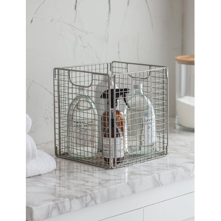 Hornton Foldable Storage Box, Small in Silver by Garden Trading