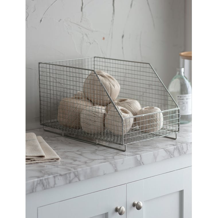 Hornton Stacking Storage Box in Silver by Garden Trading