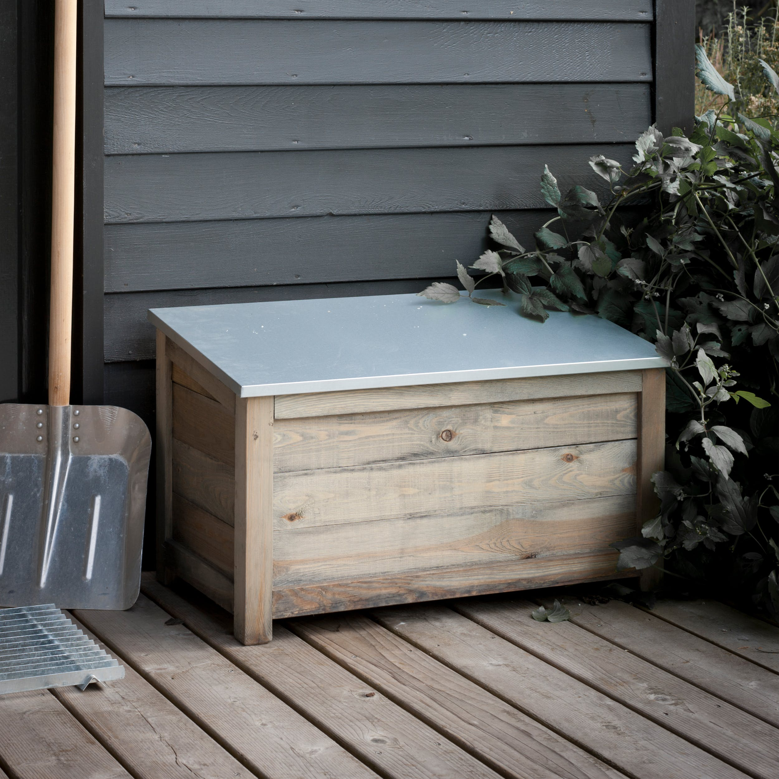 Wooden Outdoor Storage Box In Small Or