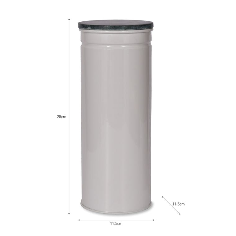 Marble and Steel Brompton Tall Canister in Black or White | Garden Trading