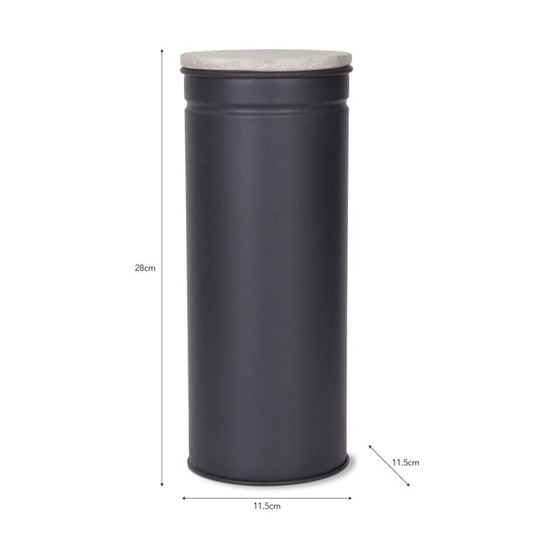 Marble and Steel Spaghetti Canister in Black | Garden Trading