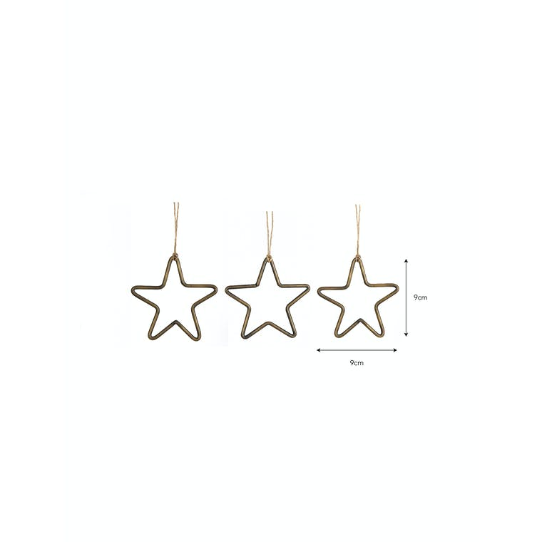 Hanging Star Decoration Antique Brass - Set of 3 - Cromwell | Garden Trading